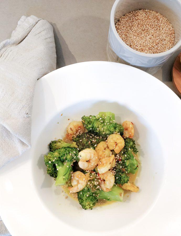 Broccoli met gamba's en chilivlokken